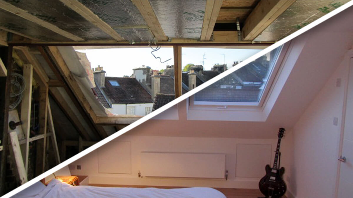 soundhouse loft conversions in brighton hovebefore and. Black Bedroom Furniture Sets. Home Design Ideas